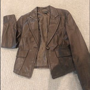Brown leather jacket, new w/o tags